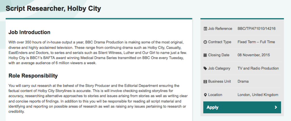 Holby City Researcher Job